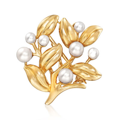 3-4.5mm Cultured Pearl Floral Pin in 14kt Yellow Gold, , default
