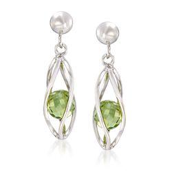 2.20 ct. t.w. Peridot Caged Drop Earrings in Sterling Silver , , default