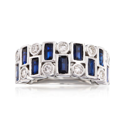 1.50 ct. t.w. Sapphire and .30 ct. t.w. Diamond Ring in 14kt White Gold, , default