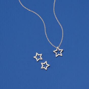 ".25 ct. t.w. Baguette and Round Diamond Open Star Pendant Necklace in 14kt White Gold. 18"", , default"
