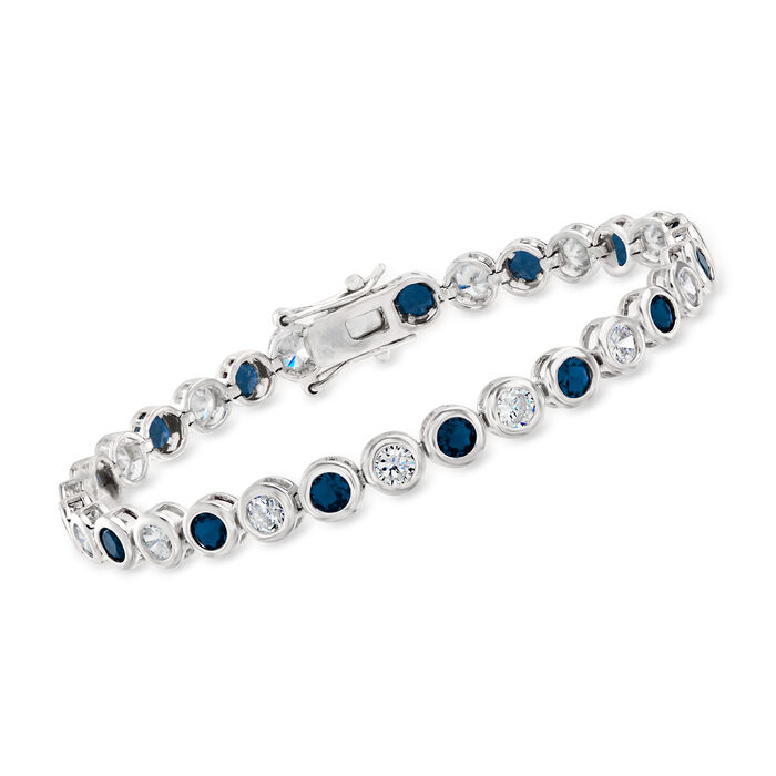 2.50 ct. t.w. CZ and 2.40 ct. t.w. Simulated Sapphire Tennis Bracelet in Sterling Silver