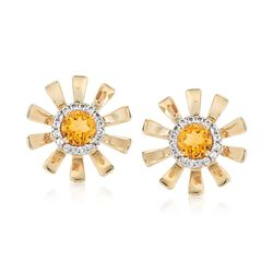 .90 ct. t.w. Citrine and .20 ct. t.w. White Topaz Sunflower Earrings in 14kt Yellow Gold, , default