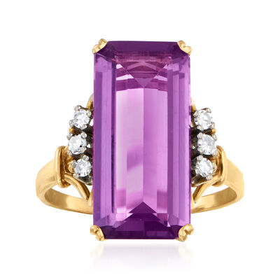 C. 1970 Vintage 4.95 Carat Amethyst and .16 ct. t.w. Diamond Ring in 18kt Yellow Gold