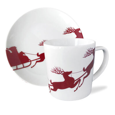 "Caskata ""Sleigh"" Red and White Porcelain Dinnerware"