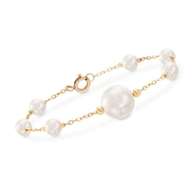 6-13mm Cultured Pearl Station Bracelet in 18kt Yellow Gold, , default