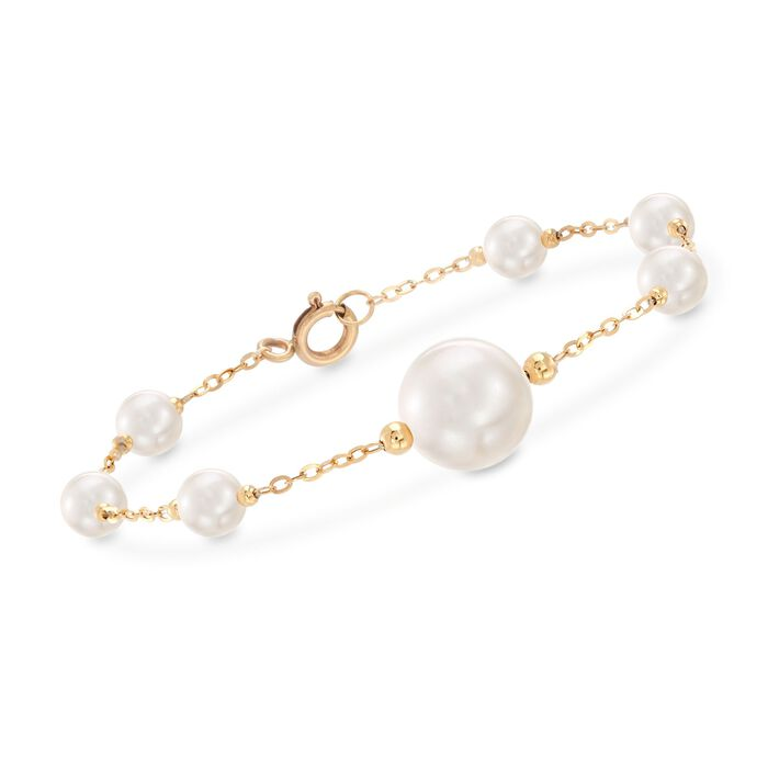 """6-13mm Cultured Pearl Station Bracelet in 18kt Yellow Gold. 7"""", , default"""