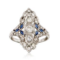 C. 1980 Vintage .75 ct. t.w. Diamond and .25 ct. t.w. Synthetic Sapphire Dinner Ring in Platinum. Size 6.5, , default