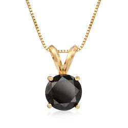 "2.00 Carat Black Diamond Solitaire Necklace in 14kt Yellow Gold. 18"", , default"