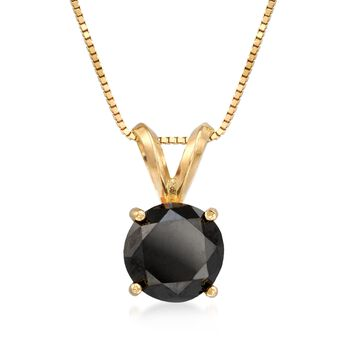 """2.00 Carat Black Diamond Solitaire Necklace in 14kt Yellow Gold. 18"""", , default"""