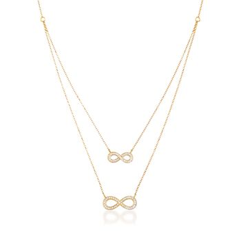 """.21 ct. t.w. Diamond Layered Infinity Symbol Necklace in 14kt Yellow Gold. 18"""", , default"""