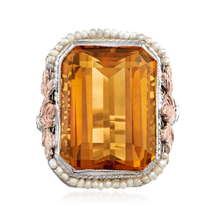 C. 1950 Vintage 12.20 Carat Citrine and Cultured Seed Pearl Ring in 14kt Two-Tone Gold. Size 4.5