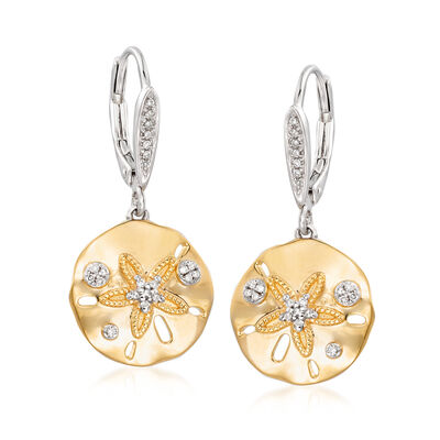 .13 ct. t.w. Diamond Sand Dollar Earrings in Sterling Silver and 18kt Gold Over Sterling, , default