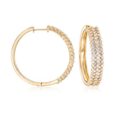 3.00 ct. t.w. Diamond Triple-Row Hoop Earrings in 14kt Yellow Gold, , default