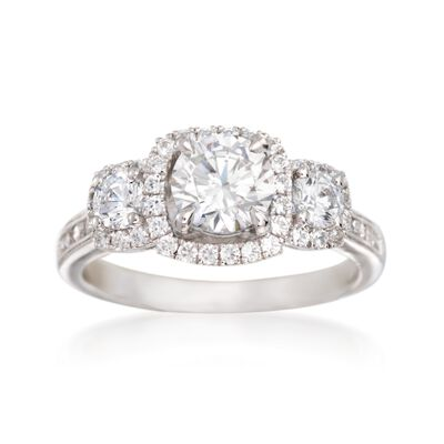 Simon G. .67 ct. t.w. Diamond Halo Engagement Ring Setting in 18kt White Gold, , default