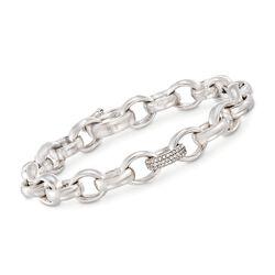 """Monica Rich Kosann """"Rosalind"""" .80 ct. t.w. White Sapphire Link Bracelet in Sterling Silver. 7.5"""", , default"""
