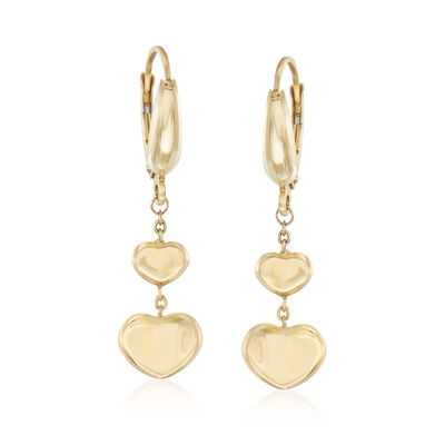 Italian 14kt Yellow Gold Double Heart Drop Earrings, , default