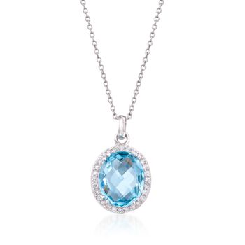 "5.00 Carat Blue Topaz and .25 ct. t.w. CZ Pendant Necklace in Sterling Silver. 18"", , default"