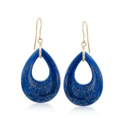Pear-Shaped Lapis Drop Earrings in 14kt Yellow Gold, , default