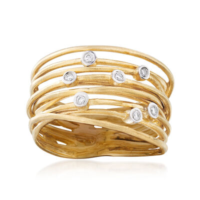 14kt Yellow Gold Multi-Row Ring with Diamond Accents, , default