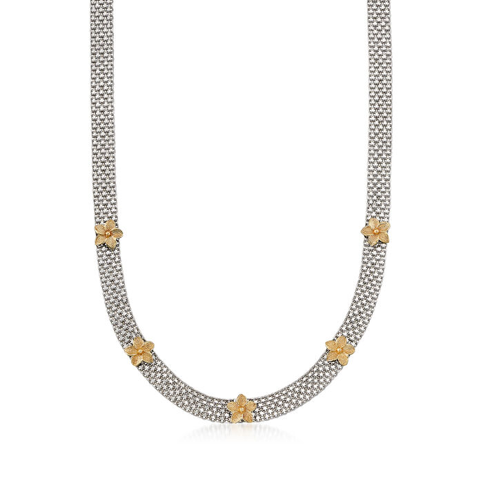 "Bismark-Link Flower Station Necklace in Sterling Silver and 14kt Yellow Gold. 20"", , default"