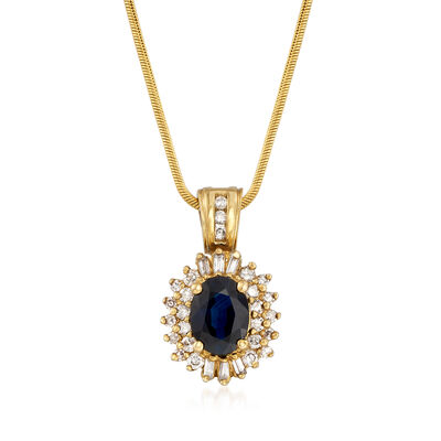 C. 1980 Vintage 1.50 Carat Sapphire and .40 ct. t.w. Diamond Pendant Necklace in 14kt Yellow Gold, , default