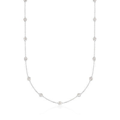 2.00 ct. t.w. Bezel-Set Diamond Station Necklace in 14kt White Gold, , default
