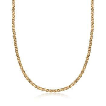 4mm 18kt Yellow Gold Byzantine Necklace, , default