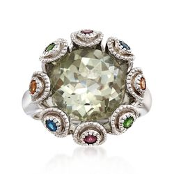 5.50 Carat Green Amethyst and .39 ct. t.w. Multi-Stone Ring in Sterling Silver, , default