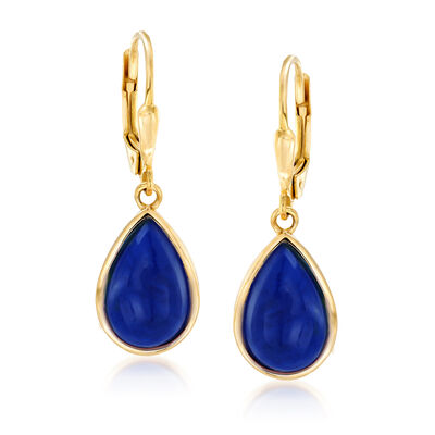 Lapis Teardrop Earrings in 18kt Gold Over Sterling, , default