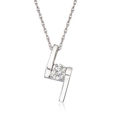 C. 1990 Vintage .25 Carat Diamond Pendant Necklace in 14kt White Gold, , default