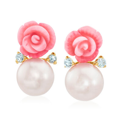 12-12.5mm Cultured Pearl and Pink Coral Rose Earrings with Blue Topaz in 14kt Gold Over Sterling