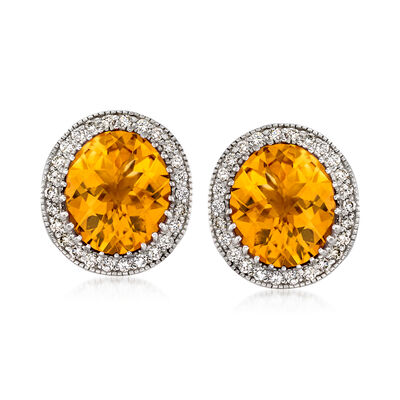 C. 1990 Vintage 14.00 ct. t.w. Citrine and 1.00 ct. t.w. Diamond Earrings in 14kt White Gold