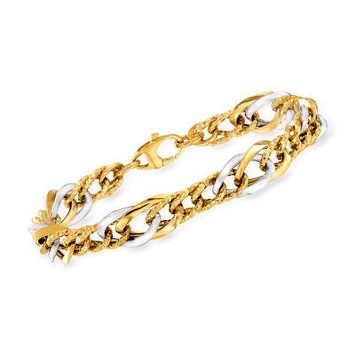 Italian 14kt Two-Tone Gold Link Bracelet, , default