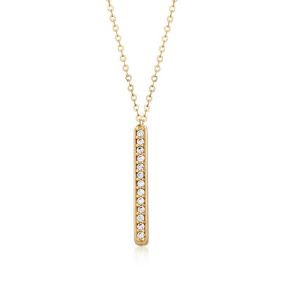 Italian .10 ct. t.w. CZ Bar Station Drop Necklace in 14kt Yellow Gold, , default