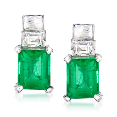 C. 1950 Vintage 1.40 ct. t.w. Emerald and .20 ct. t.w. Diamond Earrings in Platinum