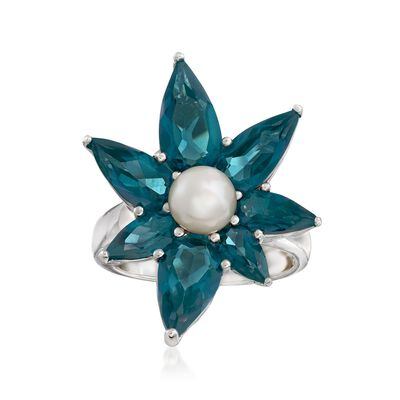 6mm Cultured Pearl and 7.10 ct. t.w. Blue Topaz Abstract Flower Ring in Sterling