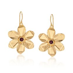 .70 ct. t.w. Garnet Flower Drop Earrings in 18kt Yellow Gold Over Sterling Silver, , default