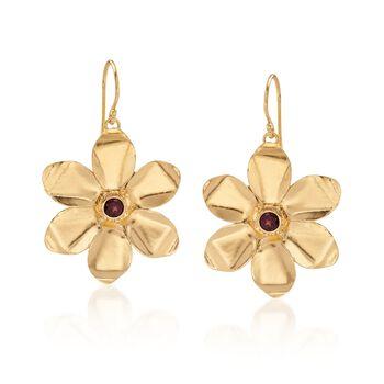 .70 ct. t.w. Garnet Flower Drop Earrings in 18kt Yellow Gold Over Sterling Silver, , default