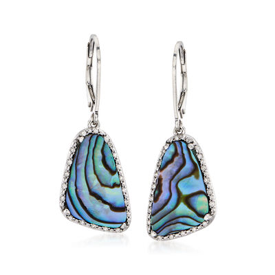 Abalone Shell and .16 ct. t.w. Diamond Drop Earrings in Sterling Silver, , default