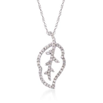 """.11 ct. t.w. Diamond-Outlined Leaf Pendant Necklace in 14kt White Gold   . 18"""", , default"""