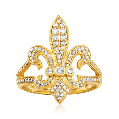 .50 ct. t.w. Diamond Fleur-De-Lis Ring in 18kt Gold Over Sterling