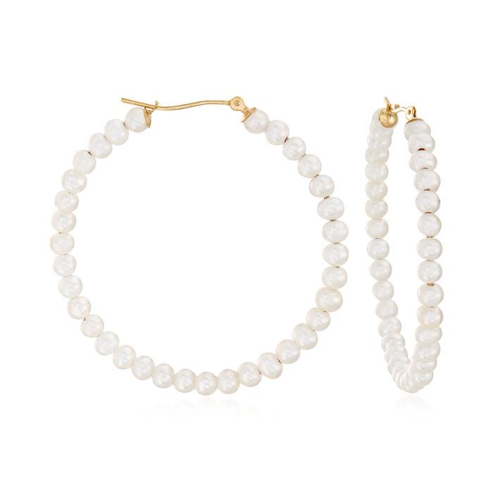"3-4mm Cultured Pearl Hoop Earrings in 14kt Yellow Gold. 1 3/4"", , default"