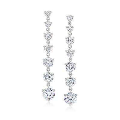 6.25 ct. t.w. CZ Graduated Drop Earrings in Sterling Silver