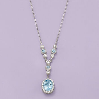 2.75 ct. t.w. Aquamarine and .30 ct. t.w. Diamond Necklace in 14kt White Gold  , , default