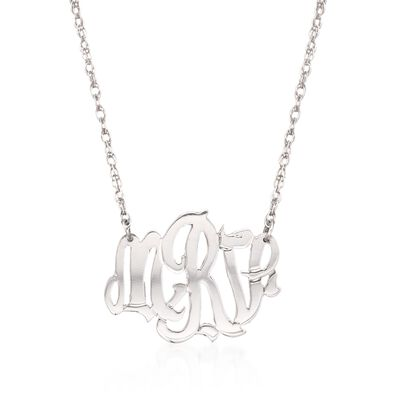 Sterling Silver Oval Monogram Pendant Necklace, , default