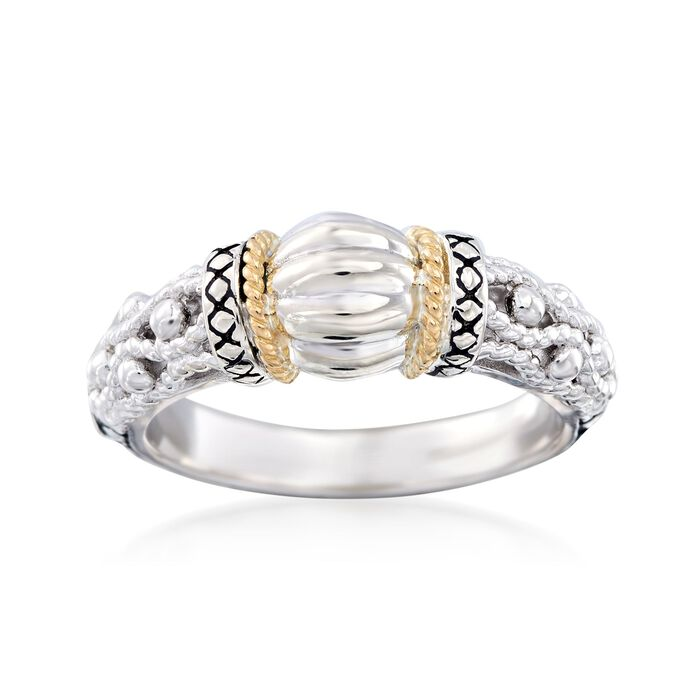 """Andrea Candela """"La Corona"""" Sterling Silver and 18kt Yellow Gold Ring. Size 7"""
