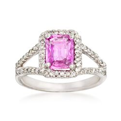 1.75 Carat Pink Sapphire and .47 ct. t.w. Diamond Ring in 14kt White Gold, , default