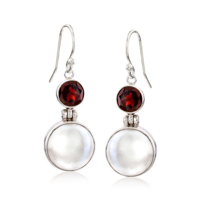2.50 ct. t.w. Garnet and 13mm Cultured Mabe Pearl Drop Earrings in Sterling Silver