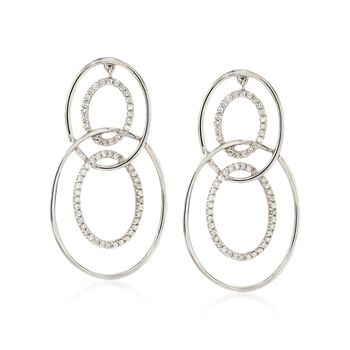 .33 ct. t.w. Diamond Multi-Circle Drop Earrings in 14kt White Gold, , default
