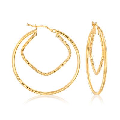 Italian 14kt Yellow Gold Double-Hoop Earrings, , default